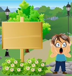 Boy in Park with Sign 9 vector
