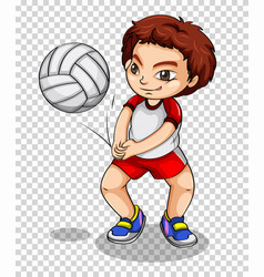 boy playing volleyball on transparent background vector image