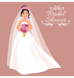 Bride In White Dress With Bouquet vector image