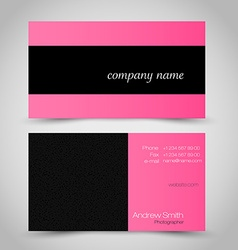 Business card set template Pink and black color vector image