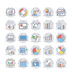Business charts and diagrams colored icons 3 vector