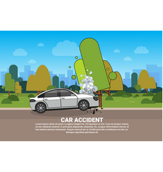 Car accident on road broken vehicle on roadside vector