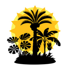 Card with tropical palm trees exotic tropical vector