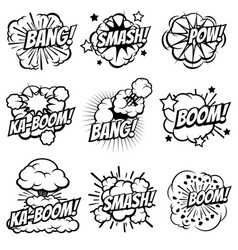 Cartoon explode icons comic book explosion vector