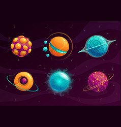 cartoon fantasy planets set vector image