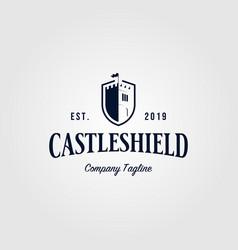 castle shield vintage logo retro icon design vector image