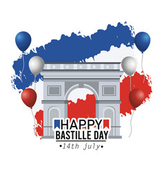 Champs elyses with balloons and france flag vector