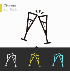 cheers icon with two champagne glasses ill vector image