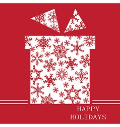 Christmas gift on red with snowflakes vector