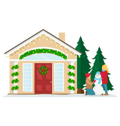 christmas house with new year decoration vector image