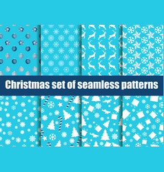 christmas seamless patterns christmas trees vector image