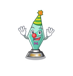 Clown acrylic trophy stored in cartoon drawer vector