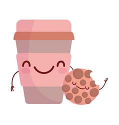 Cookie and cup paper coffee menu character cartoon vector