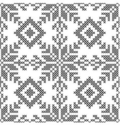 cross stitch black and white seamless pattern vector image