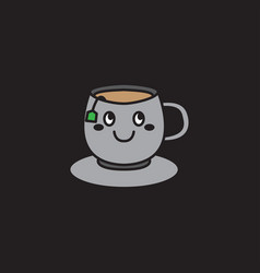 Cute happy tea cup cartoon mascot character logo vector