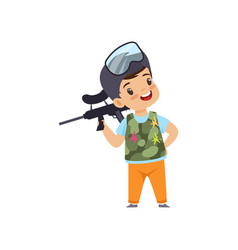 cute little boy playing paintball with gun wearing vector image
