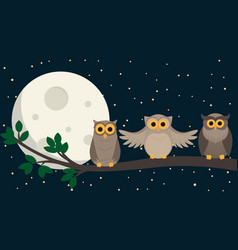 Cute owls sit at branch under the moon vector