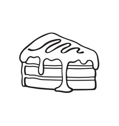 doodle a piece cake with cream and syrup vector image