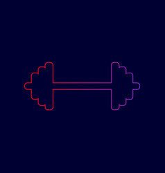 Dumbbell weights sign line icon with vector