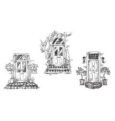 English traditional entrance doors with flower pot vector