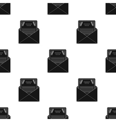 Envelope with invitation card icon in black style vector image