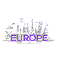 Europe - flat design composition with landmarks vector