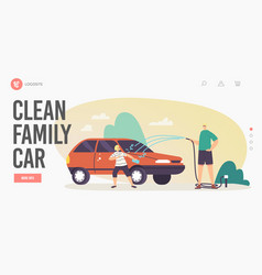 Family clean car landing page template happy vector