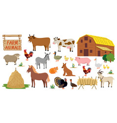 farm animals set in flat style isolated on white vector image