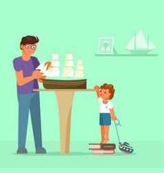 father making model of sailboat and his son vector image