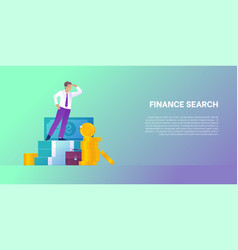 Finance search concept banner in trendy style vector