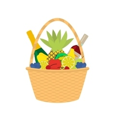 Flat cartoon straw wicker basket with food vector