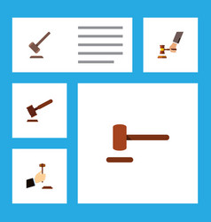 Flat icon court set of law tribunal defense and vector
