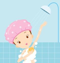Girl bathing vector
