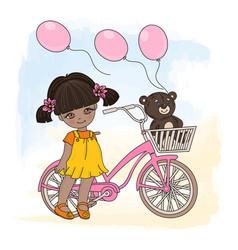 girl cycle cartoon set for pri vector image