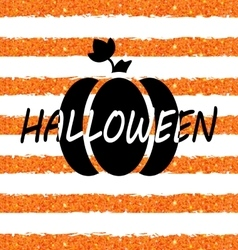 Glitter Orange Wallpaper for Happy Halloween with vector image