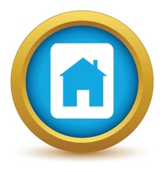 Gold building icon vector image
