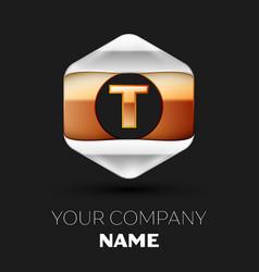 golden t letter logo in silver-golden hexagonal vector image