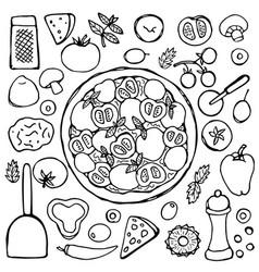 hand drawn vegetarian pizza vector image