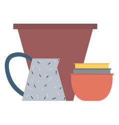 Handicraft dishware ceramic bowl and jar vector