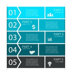 Infographic diagram 5 options parts steps vector