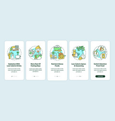 Intermittent fasting tips onboarding mobile app vector