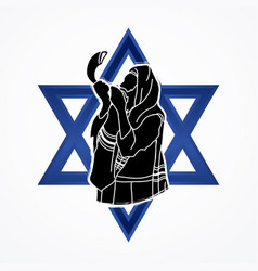 Jew blowing the shofar sheep horn vector
