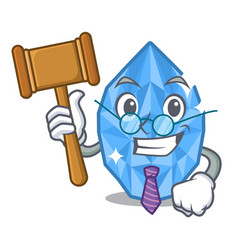 Judge aquamarine gem above cartoon dressing table vector