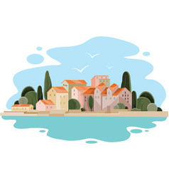 Landscape a coastal town with small houses vector