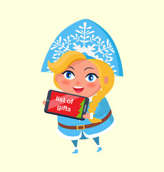 List of gifts on tablet snow maiden taking order vector