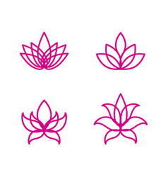 lotus flower logo assorted icons set vector image