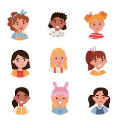lovely girls set avatars of cute little kids with vector image