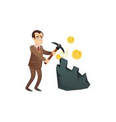 Man earning bitcoins from mining vector