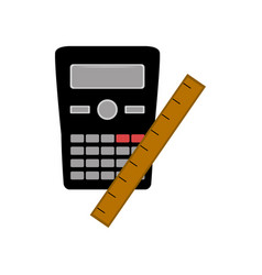 math icon calculator with a ruler vector image