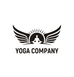 meditation man yoga sun wings wellness logo design vector image